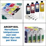 ARCEP18XL+ Hervulbare inktcartridges Epson T1811 tm  T1814 met inkt