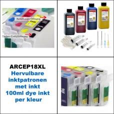 ARCEP18XL+ Hervulbare inktcartridges Epson T1811 tm  T1814 met in..