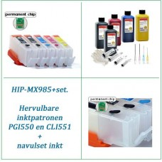HIP-MX925+  Canon PGI-550 CLI-551 Hervulbare inktpatronen 5x..