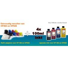 REFP364S4 navul kit plus inkt voor HP364 HP920 cartridges 4 stuks..