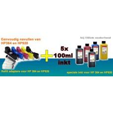REFP364S5 Adapters met navulset inkt voor HP364 en HP920 inktpatr..