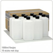 Plastic HDPE flessen met doppen 1000ml -10X