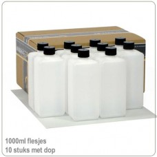 Plastic HDPE flessen met doppen 1000ml -10X..