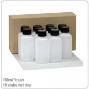 Plastic HDPE flesjes  met doppen 100ml -10X