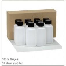 HDPE flesjes 100ml  met doppen -10 stuks..