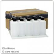 Plastic HDPE flesjes met doppen 250ml -10X