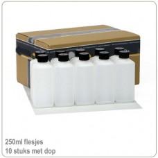 Plastic HDPE flesjes met doppen 250ml -10X..