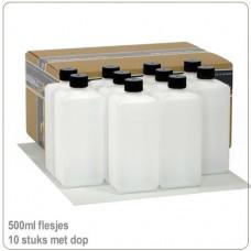 Plastic HDPE flesjes met doppen 500ml -10X..