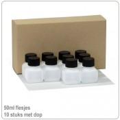 Plastic HDPE flesjes met doppen 50ml -10X