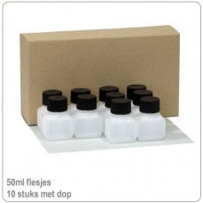 Plastic HDPE flesjes met doppen 50ml -10X..